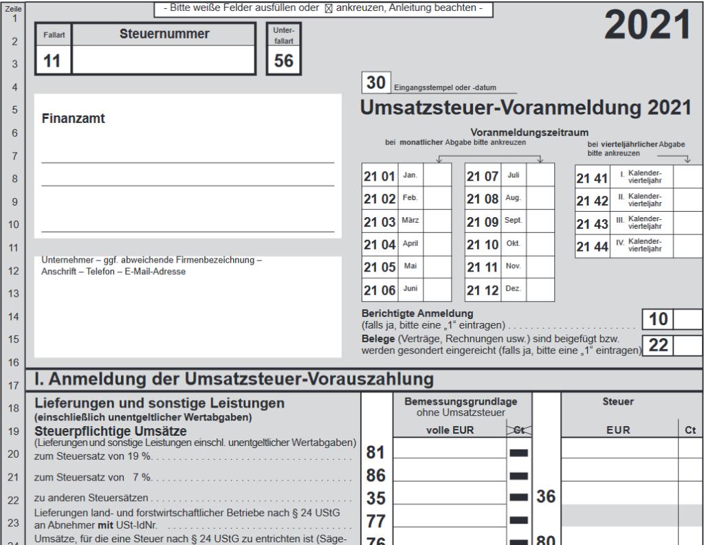 Umsatzsteuervoranmeldung Formular